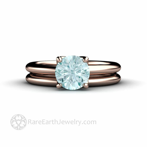 1 Carat Round Aquamarine Engagement Ring and Band Rare Earth Jewelry