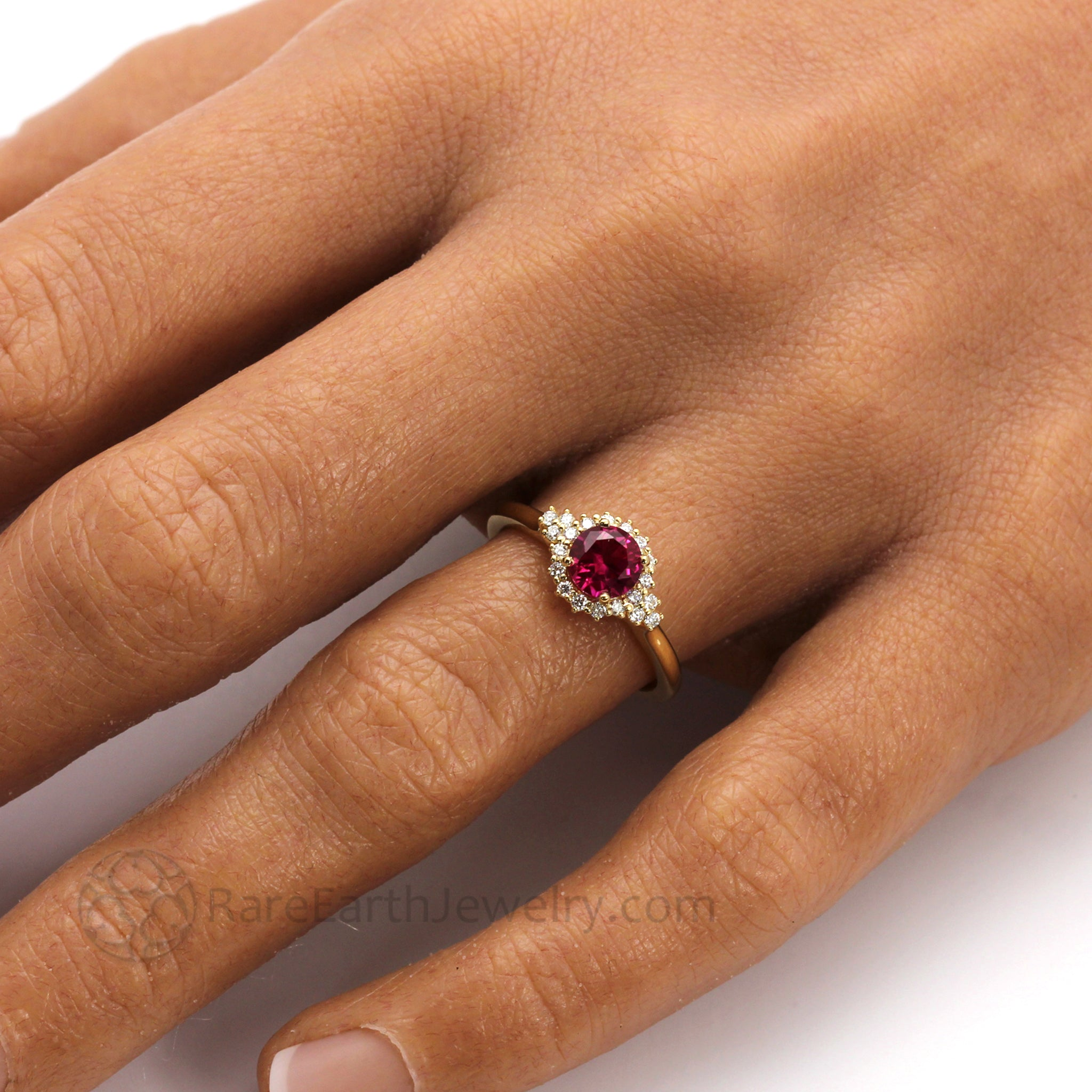 ff1cff852 Ruby Engagement Ring Vintage Diamond Halo   Ruby and Diamond Ring ...