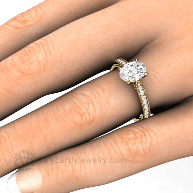 1.5 carat Oval Moissanite Ring Vintage Design on the hand
