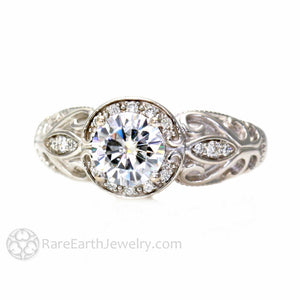 Rare Earth Jewelry Moissanite Ring Vintage Style with Diamond Halo 1ct Forever One Round