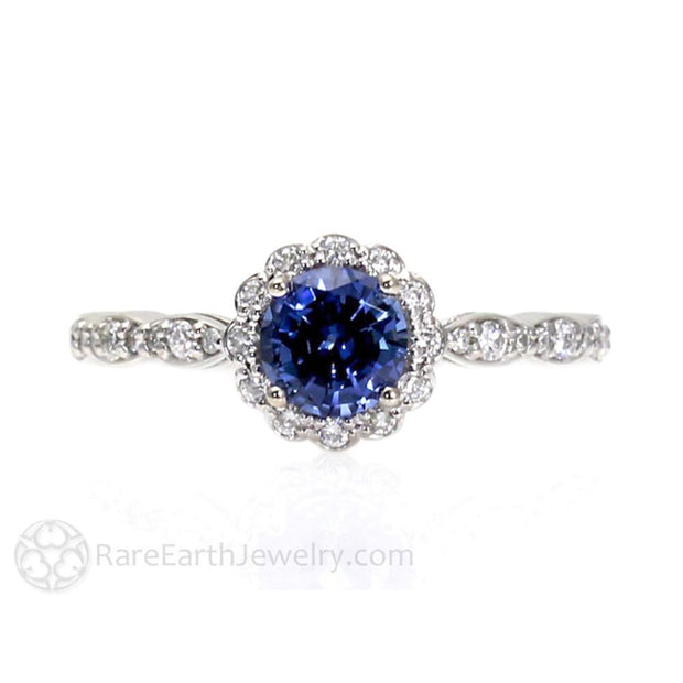Rare Earth Jewelry Round Cut Blue Sapphire Ring September Birthstone or Anniversary