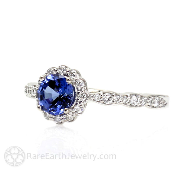 Rare Earth Jewelry Blue Sapphire Engagement Ring Vintage Style Halo 14K Gold