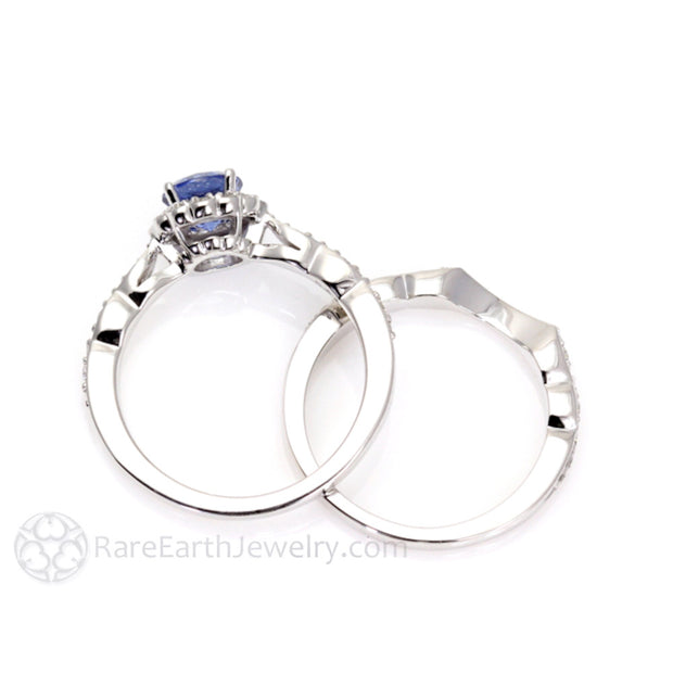 Round Cut Blue Sapphire Bridal Set 14K White Gold with Diamonds Rare Earth Jewelry