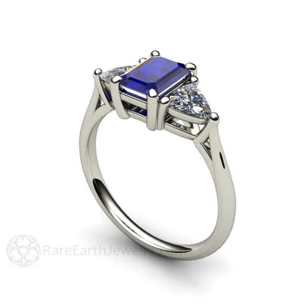Rare Earth Jewelry 14K Emerald Blue Sapphire Ring with White Trillion Sapphire Side Stones Vintage Style White Gold Setting