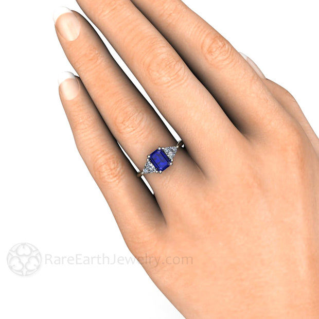 Rare Earth Jewelry Emerald Cut Blue Sapphire 3 Stone Right Hand Ring on Finger 14K 18K or Platinum Setting