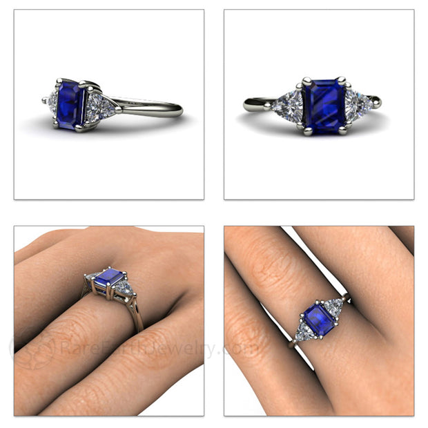 Rare Earth Jewelry Emerald Blue Sapphire Wedding Ring Three Stone September Birthstone or Anniversary