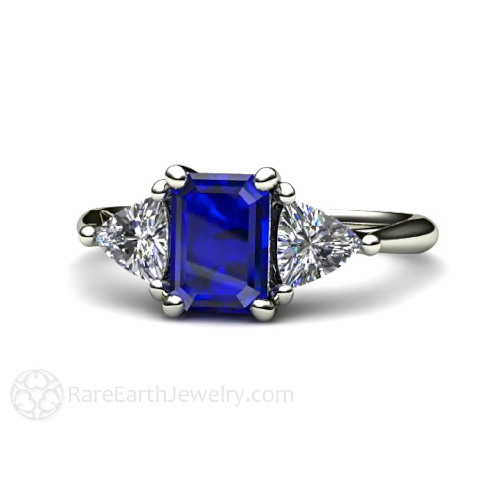 d0d2e173ce10bc Emerald Cut Blue Sapphire Engagement Ring 3 Stone Setting 14K or 18K ...
