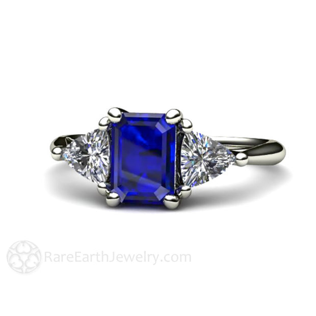 Rare Earth Jewelry Emerald Cut Blue Sapphire Engagement Ring 3 Stone 14K or 18K Gold Setting Vintage Style