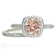 Morganite Engagement Ring 2 Carat Pave Diamond Halo