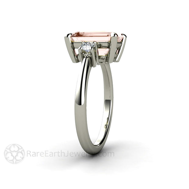 Three Stone Morganite Ring Emerald Cut