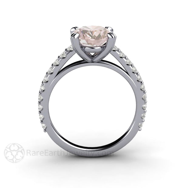 Rare Earth Jewelry Morganite Solitaire Bridal Ring Oval Solitaire with Diamond Accent Stones