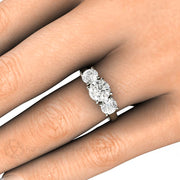 Woven Prong 3 Stone Moissanite Ring on Finger Rare Earth Jewelry