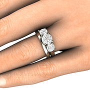 Forever One Moissanite Wedding Set on Finger Rare Earth Jewelry