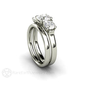 Rare Earth Jewelry Moissanite Wedding Ring Set 3 Stone Setting