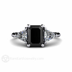Rare Earth Jewelry Emerald Cut Black Diamond and Sapphire Ring Anniversary or April Birthstone