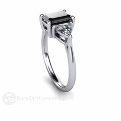 Emerald Cut Black Diamond Ring Three Stone 14K White Gold Setting Rare Earth Jewelry
