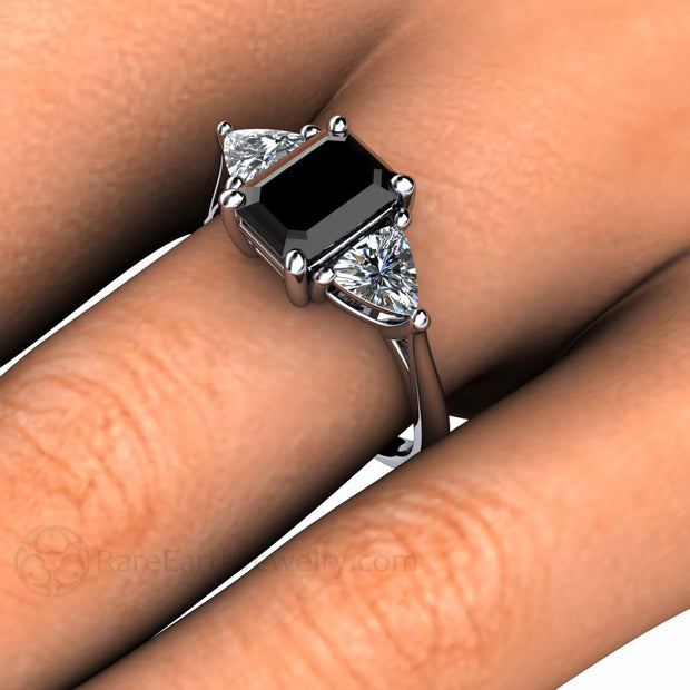 Rare Earth Jewelry Black Diamond Wedding Ring Trillion White Sapphire Accent Stones 14K Vintage Design