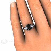 Rare Earth Jewelry Black Diamond Engagement Ring with White Sapphire Trillion Side Stones on Finger