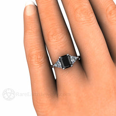 Black Diamond 3 Stone Engagement Ring with White Sapphire Trillion Side Stones on Finger Rare Earth Jewelry