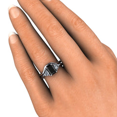Rare Earth Jewelry Black Diamond Bridal Set on Finger White Sapphire Trillion Accents