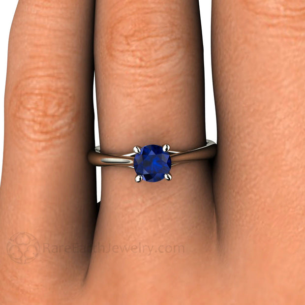 Round Blue Sapphire Engagement Ring Vintage Filigree Solitaire