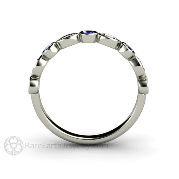 14K Bezel Set Sapphire Stacking Ring Rare Earth Jewelry