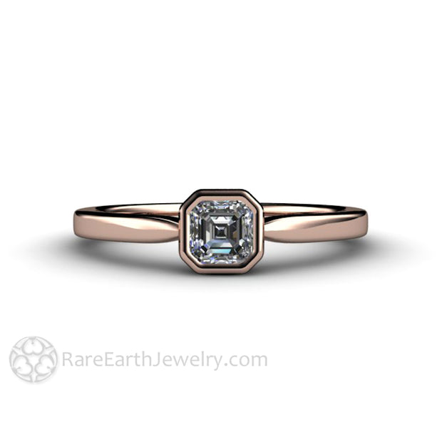 14K Rose Gold Diamond Engagement Ring Bezel Setting GIA Asscher Cut Rare Earth Jewelry