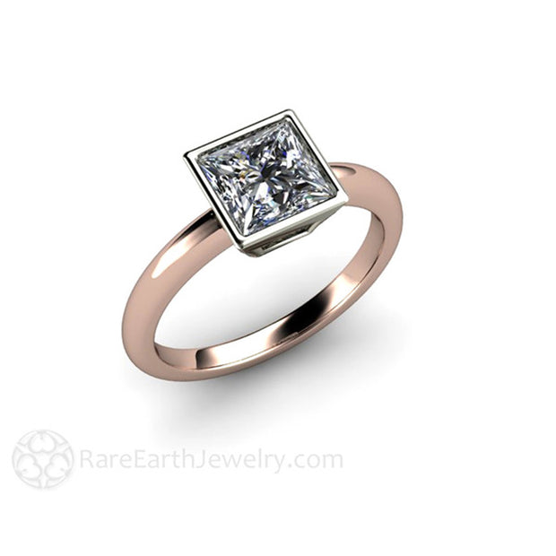 14K Rose Gold Engagement Ring Square Princess Cut Moissanite Solitaire Diamond Alternative Engagements by Rare Earth Jewelry