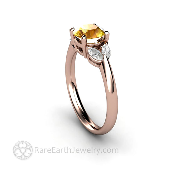 Rose Gold Yellow Sapphire and Diamond Anniversary Ring - Rare Earth Jewelry