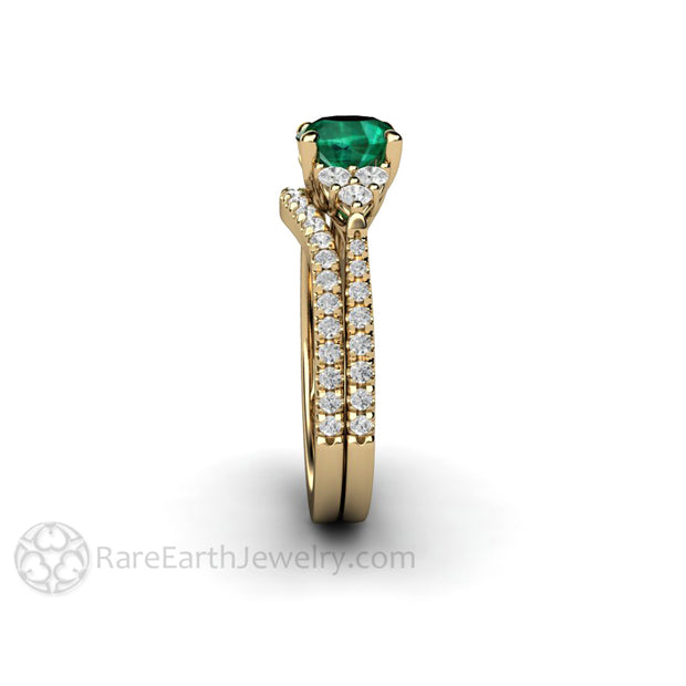 14K Round Cut 1 Carat Green Emerald Wedding Set with Diamond Cluster Ring 3 Stone Style Engagement Rare Earth Jewelry