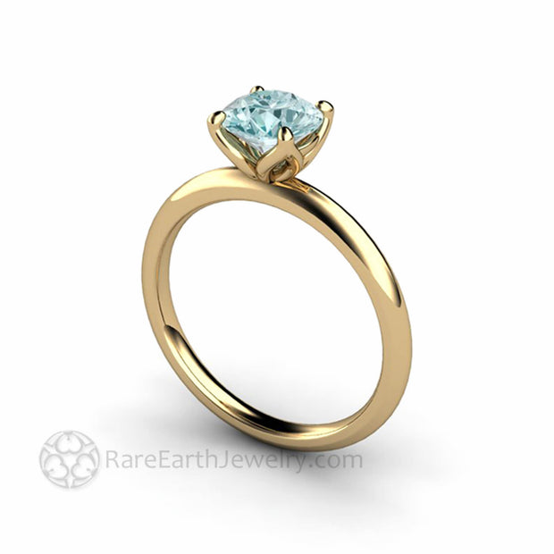 14K Yellow Gold Aquamarine Engagement Ring Classic Design Rare Earth Jewelry