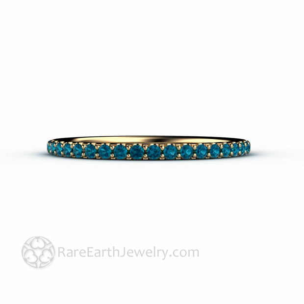 14K Yellow Gold Narrow Teal Blue Diamond Wedding Ring Diamond Stacking Ring