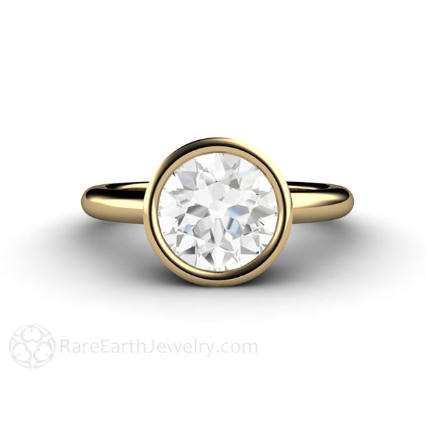 14K Yellow Gold Solitaire Engagement Ring With 2ct Round Moissanite Eco Friendly Diamond Alternative Bespoke by Rare Earth Jewelry