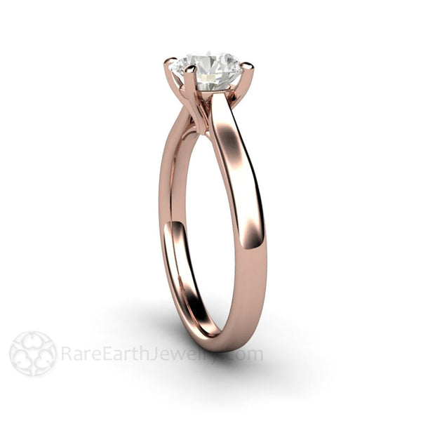 Rare Earth Jewelry 14K Rose Gold GIA Diamond Solitaire Bridal Ring