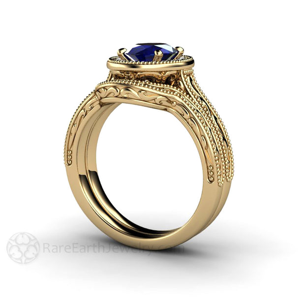Oval Blue Sapphire Wedding Ring Set Engraved Filigree with Milgrain Detail Rare Earth Jewelry