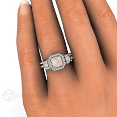 Asscher Morganite Bridal Set Engagement Ring and Band Diamond Halo Accent Stones 14K or 18K Gold