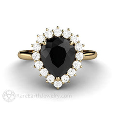 Black Pear Cut Moissanite Halo Ring Bridal or Wedding Anniversary Ring