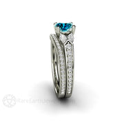 Blue Diamond Bridal Ring Set Round Cut 14K Rare Earth Jewelry