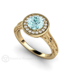 14K Blue Moissanite Ring Diamond Halo Accent Stones Engraved Art Deco Style Rare Earth Jewelry