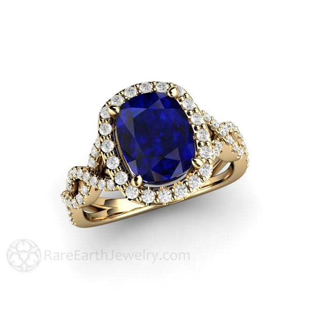 Rare Earth Jewelry 14K Cushion Sapphire Diamond Halo Infinity Right Hand Cocktail Ring