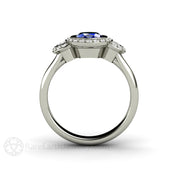 Rare Earth Jewelry 14K Blue Sapphire Ring Diamond Side Stones Halo 3 Stone