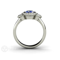 14K Blue Sapphire Ring Diamond Side Stones Halo 3 Stone Rare Earth Jewelry