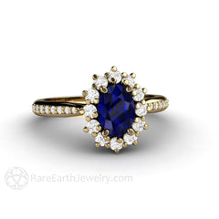 18K Oval Blue Sapphire Halo Wedding Anniversary Ring Rare Earth Jewelry