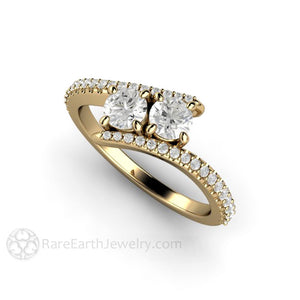 Rare Earth Jewelry Two Stone Diamond Engagement Ring 14K Round Cut