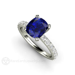 Blue Sapphire Ring Double Prong Solitaire Engagement Rare Earth Jewelry