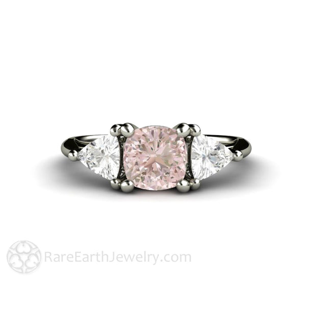 Rare Earth Jewelry Cushion Baby Pink Sapphire Engagement Ring 3 Stone