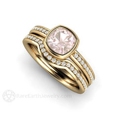 Bezel Set Cushion Pink Sapphire Solitaire Wedding Set 14K Diamond Accents Rare Earth Jewelry