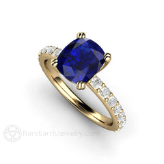Rare Earth Jewelry 14K Cushion Blue Sapphire Solitaire Ring with Diamond Accent Stones
