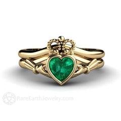 Claddagh Emerald Wedding Band Set 14K Gold Rare Earth Jewelry