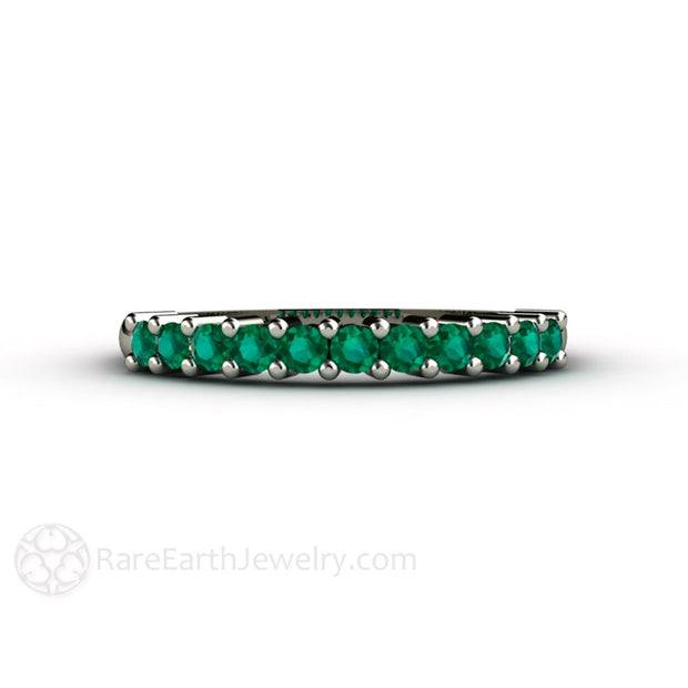 Rare Earth Jewelry Emerald Anniversary Band or May Birthstone Ring 14K White Gold